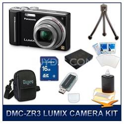 DMC-ZS5K LUMIX 12.1 MP Digital Camera (Black), 16GB SD Card, and Camera Case