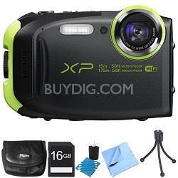 FinePix XP80 16MP Waterproof Digital Camera Graphite Black 16GB Bundle