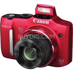 Powershot SX160 IS 16MP 16x Zoom Red Digital Camera w/ 720p HD Video