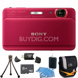 "Cyber-shot DSC-TX55 Red Slim Digital Camera 3.3"" OLED Touchscreen w/ 8GB Kit"