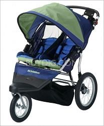 Free Wheeler 2 Double Jogging Stroller (Green/Blue)