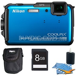 COOLPIX AW110 16MP Water/Shock/Freezeproof Blue Digital Camera Plus 8 GB Kit