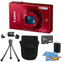 PowerShot ELPH 520 HS Red 10.1 MP CMOS Digital Camera 12x Zoom 8 GB Bundle