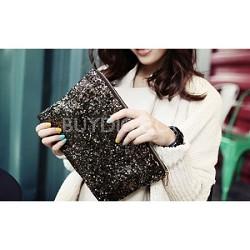 Sequin Popper Handbag Clutch - Black