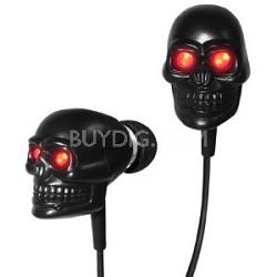 IP-SKULL-BK Eyes Skull Earphones with LED LIGHT (Black with Red)