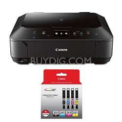 PIXMA MG6620 Wireless Color Photo All-in-One Inkjet Black Printer 4 Ink Bundle