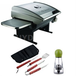 All-Foods Gourmet Stainless Steel Tabletop Gas Grill with BBQ Bundle