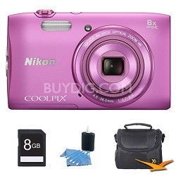 "COOLPIX S3600 20.1MP 2.7"" LCD Digital Camera with 720p HD Video Pink Kit"