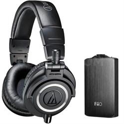 ATH-M50X Professional Studio Black Headphones & Fiio A3 Amplifier Bundle Black
