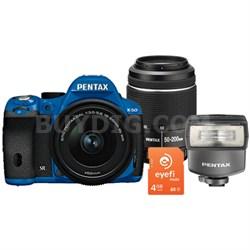 K-50 Weatherproof DSLR Bundle with 18-55mm, 50-200 WR Lenses, EyeFi Card & Flash