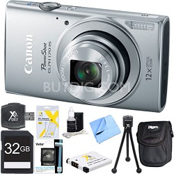 PowerShot ELPH 170 IS 20MP 12x Opt Zoom Digital Camera - Silver 32 GB Bundle