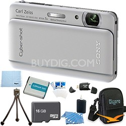 "Cyber-shot DSC-TX66 18.2 MP CMOS Camera 5X Zoom 3.3"" OLED Silver 16GB Memory Kit"