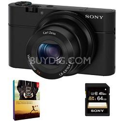 DSC-RX100 20.2MP Exmor CMOS Low-Light Sensor Digital Camera Bundle Deal