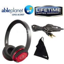 SH190 Travelers Choice Stereo Headphones w/ LINX AUDIO & Inline Volume - Red