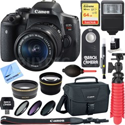 EOS Rebel T6i Digital SLR Camera + EF-S 18-55mm IS STM Lens Memory & Flash Kit