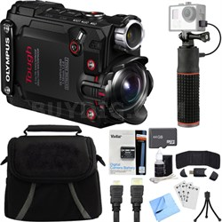 Stylus TG-Tracker Waterproof Shockproof 4K Action Cam Black Deluxe Bundle