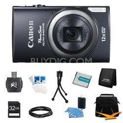 PowerShot ELPH 340 HS 16MP 12x Zoom 3-inch LCD Black Ultimate Kit