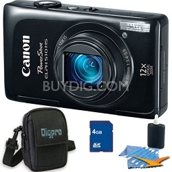 PowerShot ELPH 510 HS Black Digital Camera 4GB Bundle