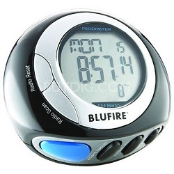 PD20 Pedometer, Polished Black with Silver Bezel