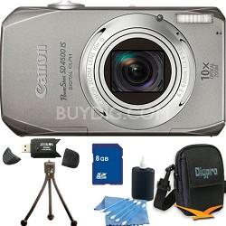 PowerShot SD4500 IS Silver Bundle w/ 8GB Memory, Reader, Case, Mini Tripod, More
