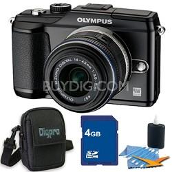 PEN E-PL2 12.3 MP 3-inch LCD Digital SLR Camera 14-42 Lens Black 4GB Kit