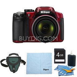 COOLPIX P510 16.1MP 42x Opt Zoom 3.0 LCD Digital Camera 4GB Red Bundle