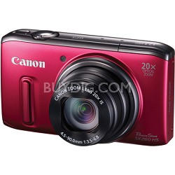 PowerShot SX260 HS Red Digital Camera 20x Optical Zoom 1080p Video
