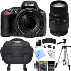 D5500 Black DX-format DSLR Camera w/ AF-S NIKKOR 18-140mm ED VR Lens Bundle