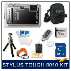 Stylus Tough 8010 Waterproof Shockproof Digital Camera (Black) w/ 16 GB Memory