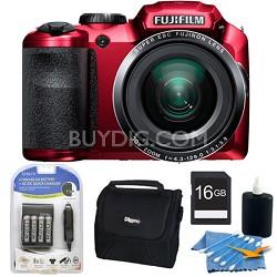 FinePix S6800 16 MP 30x Wide Angle Zoom Digital Camera Red 16GB Kit