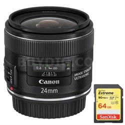 EF 24mm f/2.8 IS USM with Lexar 64GB Memory Card