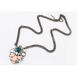 Crystal and Rhinestone Trendy Pink Stone Necklace
