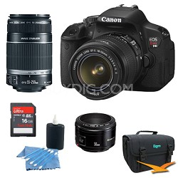 EOS Digital Rebel T4i 18MP SLR Camera w 18-55mm, 55-250mm, 50mm 1.8 Bundle