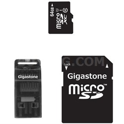 MicroSDXC 64GB C10 U1 with SD and USB Adapters
