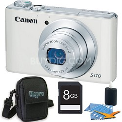 PowerShot S110 White Compact High Performance Camera 8GB Bundle