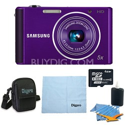 4 GB Bundle ST76 16 MP 5X Compact Digital Camera - Purple