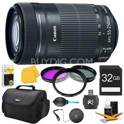 EF-S 55-250 f/4-5.6 IS STM (8546B002) Pro Lens Kit Bundle