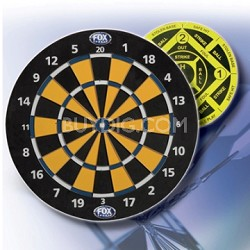 "17"" Reversible Dart Board with 6 heavy-duty brass-tip darts"