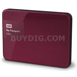 My Passport Ultra 1 TB Portable External Hard Drive, Berry - OPEN BOX