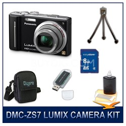 DMC-ZS7K LUMIX 12.1 MP Digital Camera (Black), 8GB SD Card, and Camera Case
