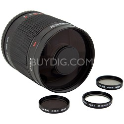500mm f/8.0 Mirror Lens for Sony DSLR Cameras (Black)