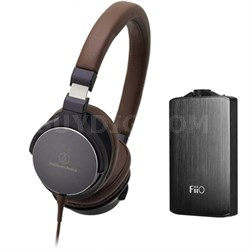 On-Ear High-Resolution Headphones w/ FiiO A3 Headphone Amplifier, Navy/Brown