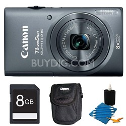 PowerShot ELPH 130 IS Gray 16MP Digital Camera 8GB Bundle