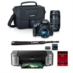 EOS Rebel T6 18MP DSLR Camera + 18-55 & 75-300 Lenses Pro 100 Printer Paper Case