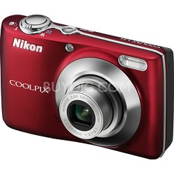 COOLPIX L24 14 MP Digital Camera with 3.6x NIKKOR Optical Zoom Lens Red