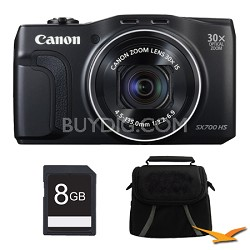 PowerShot SX700 HS 16.1MP HD 1080p Digital Camera Black 8 GB Kit