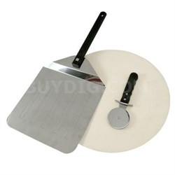 3-Piece Grill Stone Pizza Set with Pizza Peel - 06187X
