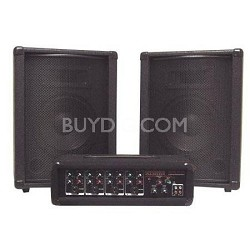 PA210 PA System with 4 Channel Powered Mixer and Two 10 Inch Speakers