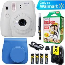 Instax Mini 9 Instant Camera  (Smokey White) + Blue Case + 20 pk Film Kit
