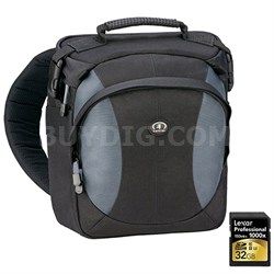 Velocity 8z Pro Photo Sling Pack (Black/Gray) Includes Lexar 32GB Memory Card